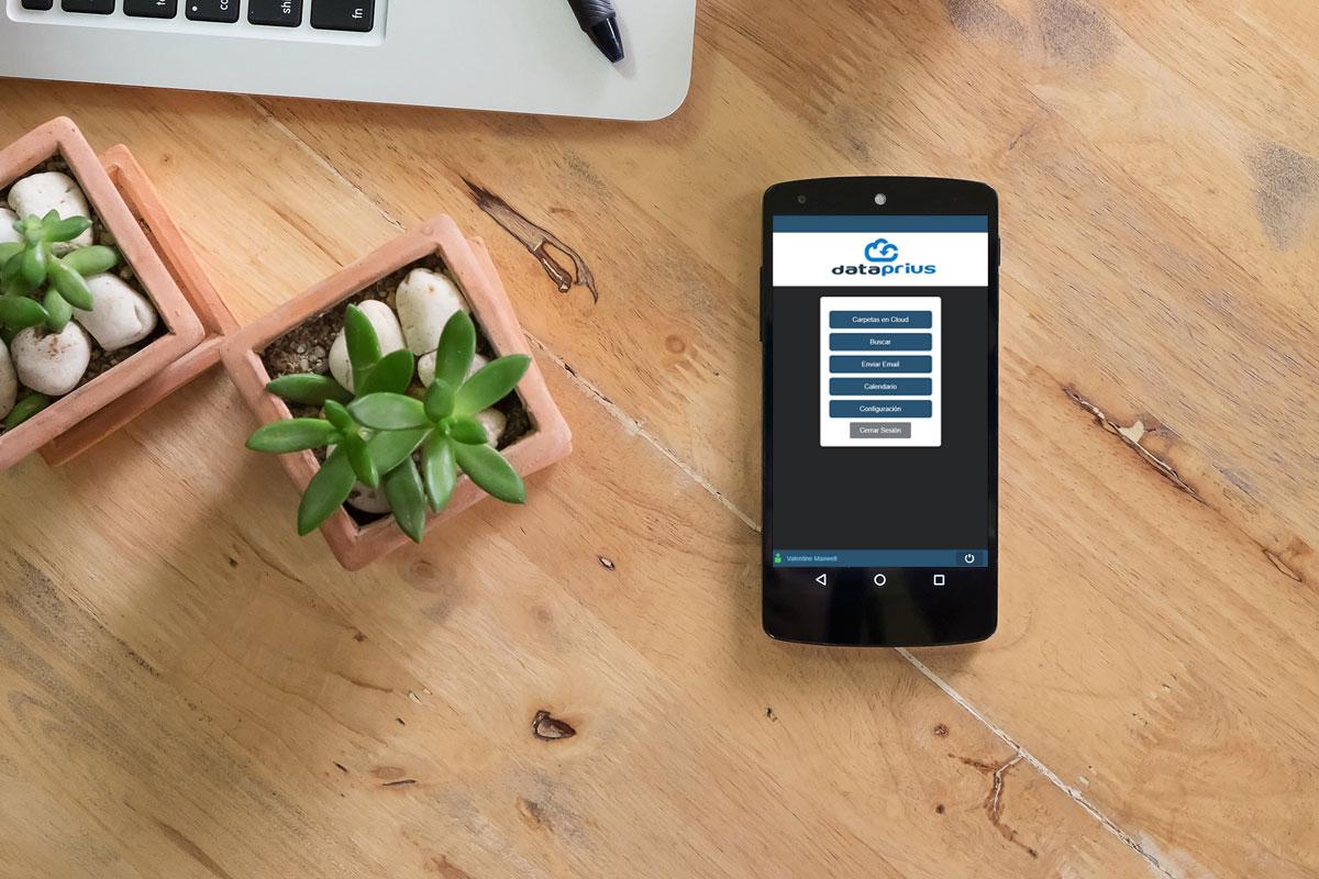 Ilustración aplicación móvil Dataprius.