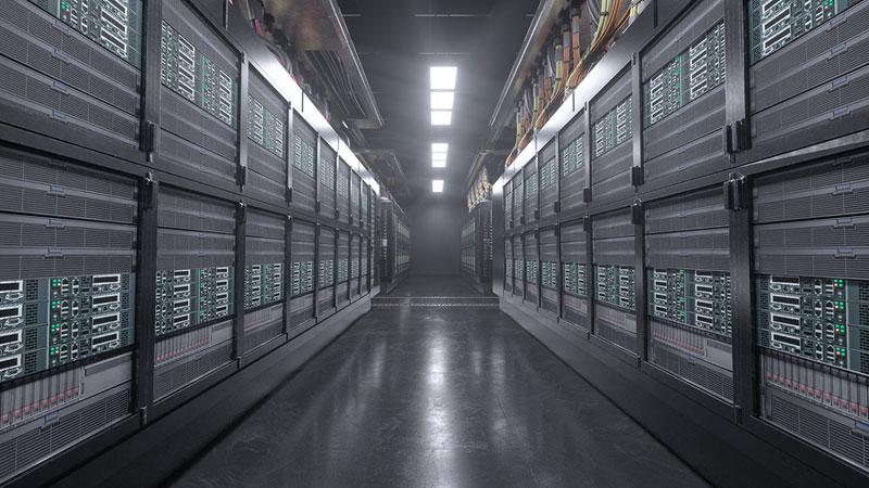 Datacenter pasillo con servidores