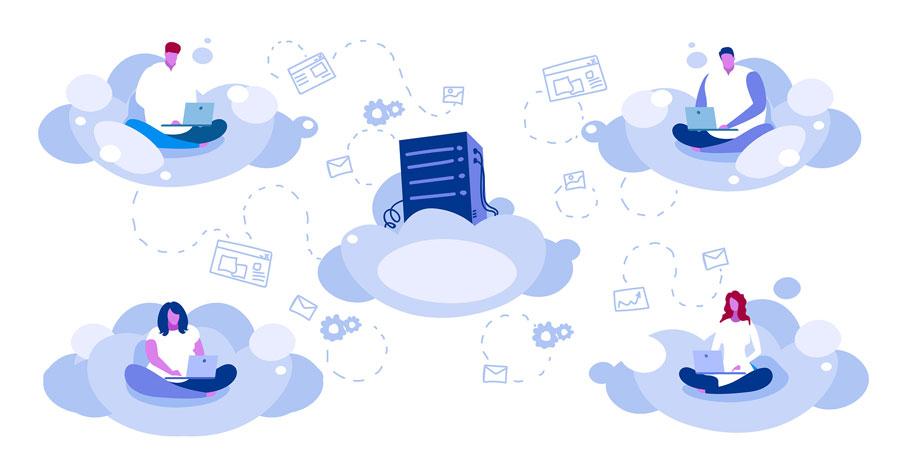 Usuarios en red en la Nube