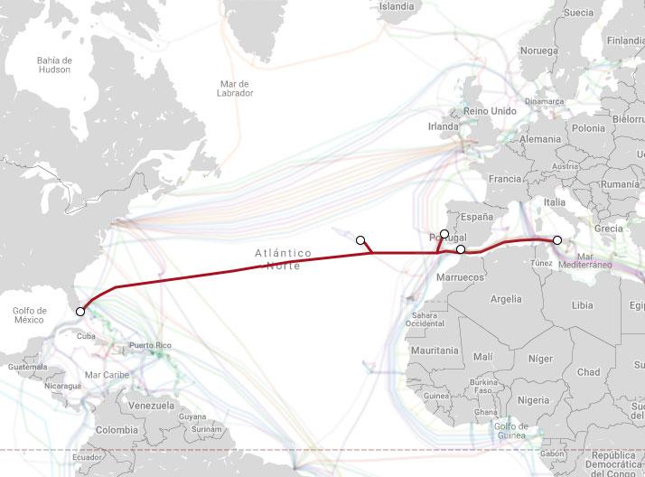 Mapa de cable backbone entre Conil en Espala y Florida USA.