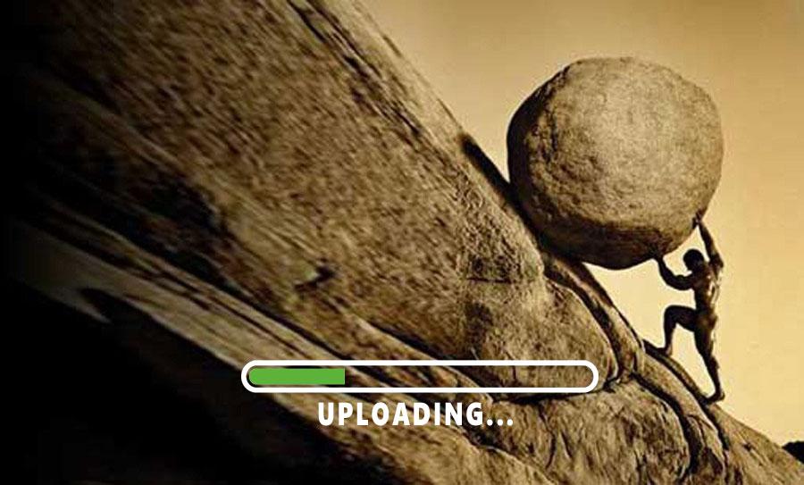 Uploadig. Subir en Internet es más lento que descargar.