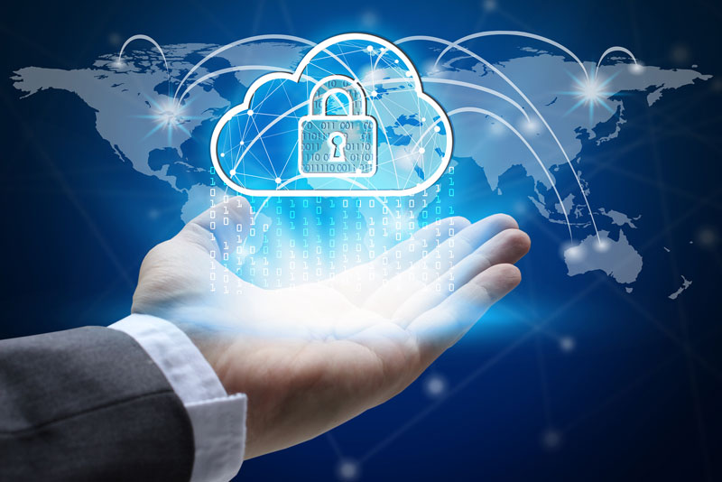 Seguridad nube mapa del mundo