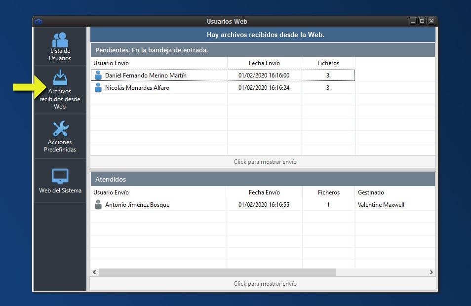 Aplicación Dataprius. Nuevo panel de gestión de los archivos recibidos desde la Web.