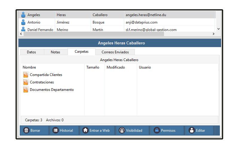 Aplicación Dataprius. Visualización de carpetas compartidas con los clientes.