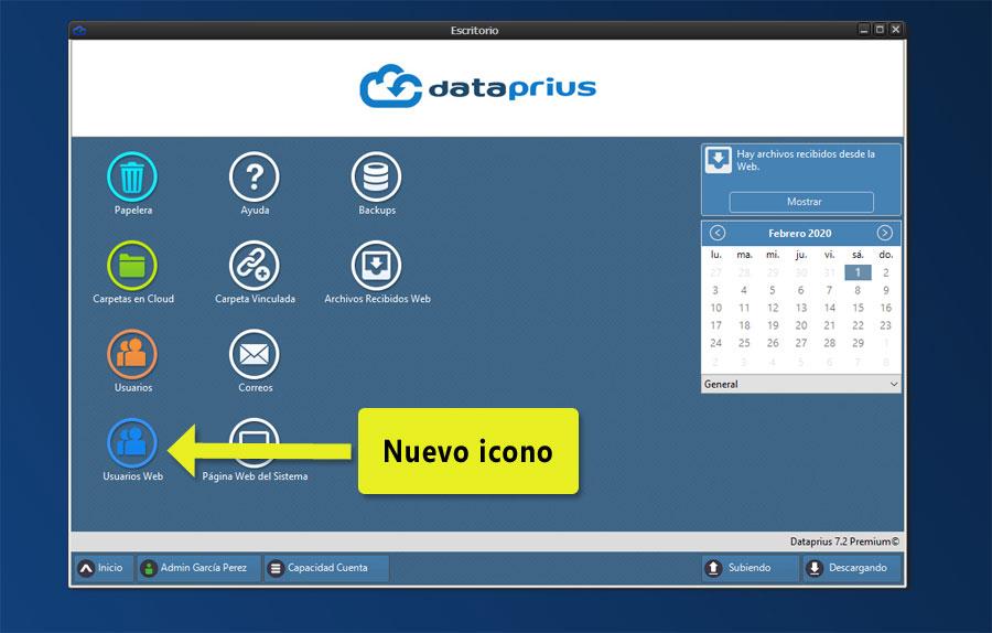 Aplicación Dataprius. Nuevo icono en el escritorio.