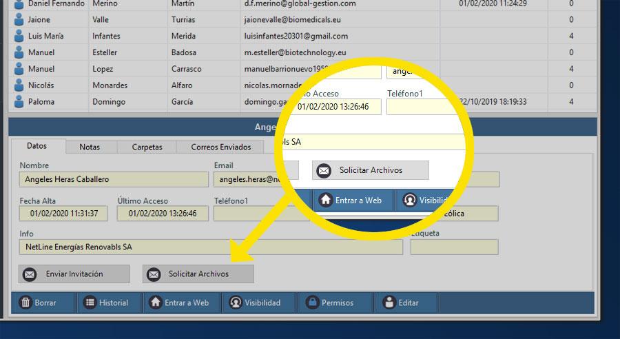 Aplicación Dataprius. Solicitar archivos a cliente.