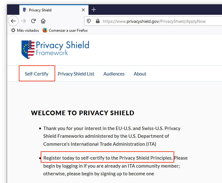 Auto Certificación en Privacy Shield
