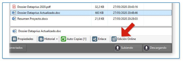 Opción de edición online en la barra del documento seleccionado de Dataprius.