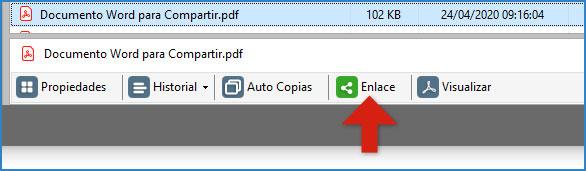 Botón de enlace en la barra de archivo seleccionado.