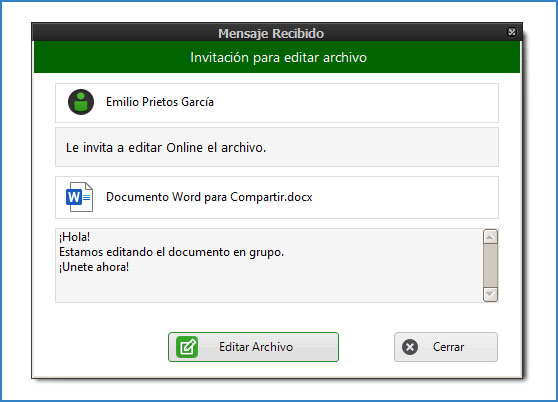 Invitación recibida para editar documento Word en grupo.