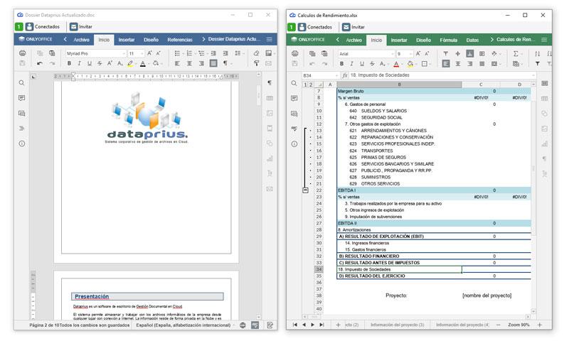 Editores Word y Excel integrados en Dataprius
