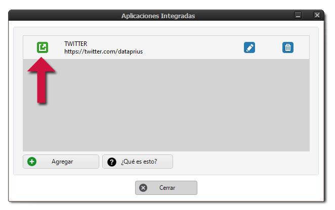 Agregar aplicación integrada en Dataprius.