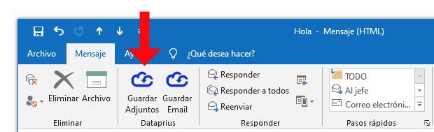 Captura guardar adjuntos Complemento Outlook Dataprius