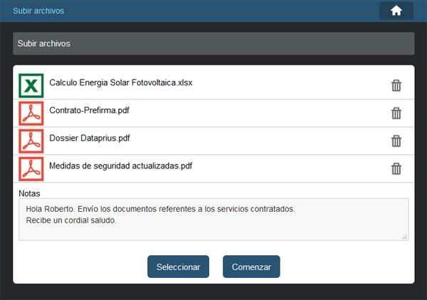Agregar notas cuando un cliente o usuarios web sube archivos desde la web.