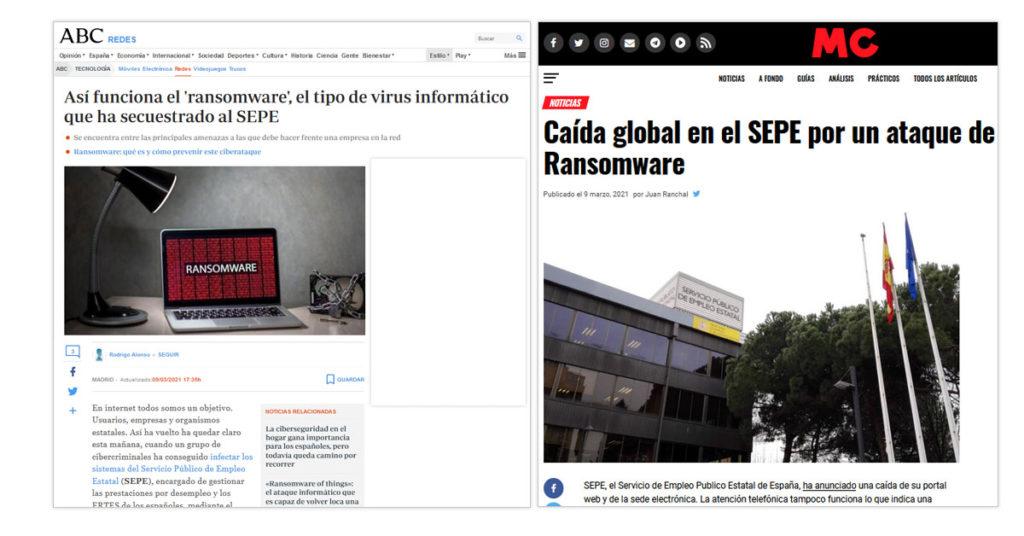 Ataques Ransomware SEPE en la prensa.