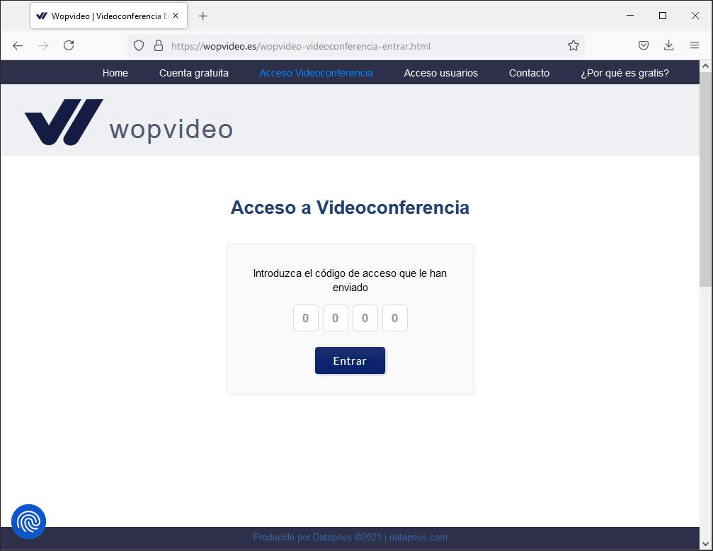 Sencillo acceso a la videoconferencia de Wopvideo introduciendo un código.