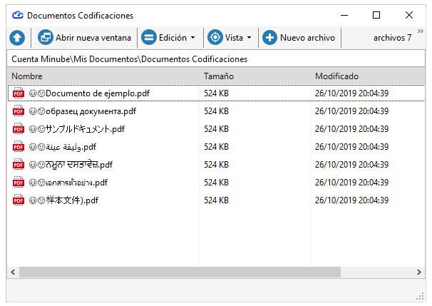 Ejemplo de archivos con diferentes codificaciones y símbolos en Dataprius.