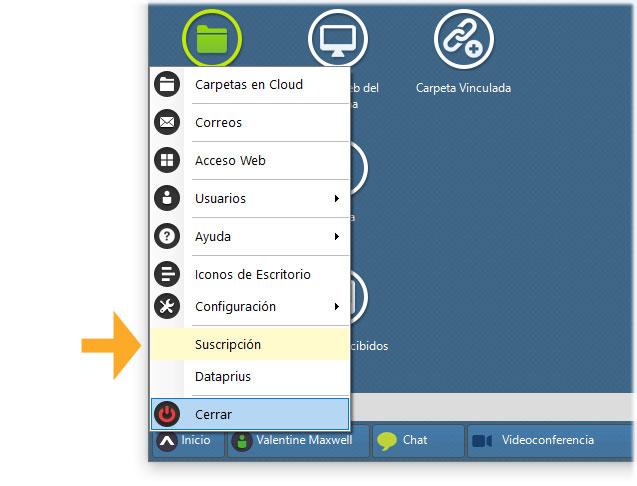 Menu de inicio de Dataprius muestra opción de suscripción.