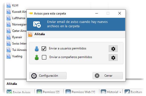 Vnetana para configurar el envío de avisos a usuarios con los que compartimos las carpetas. Los usuarios permitidos.