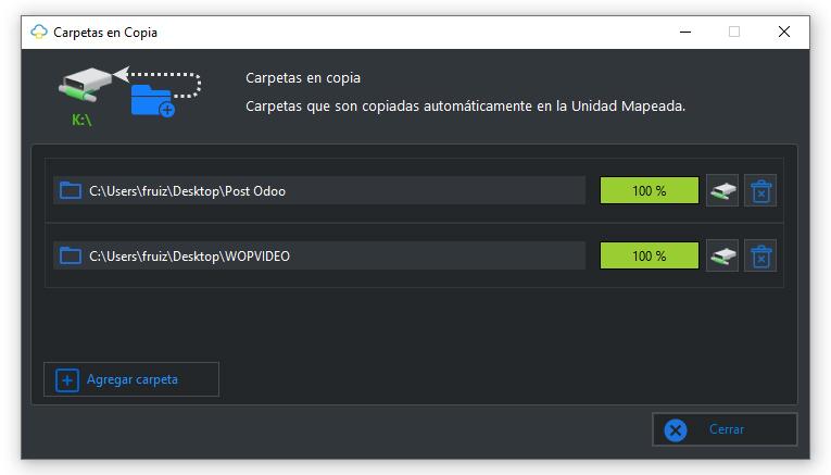 Carpetas en copia en MapDrive