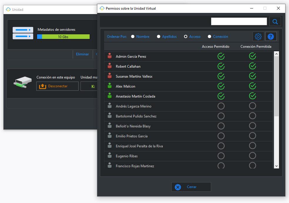 Permisos de acceso MapDrive para los usuarios de la cuenta Dataprius.