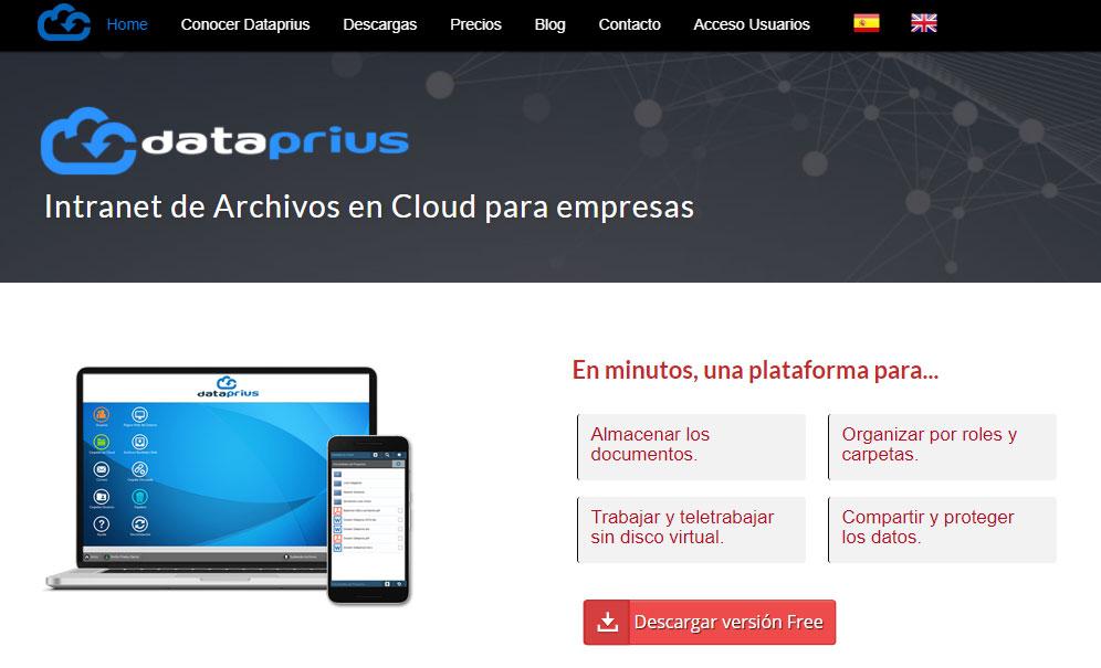Captura de la Web. Dataprius se define como Intranet en Cloud para empresas.